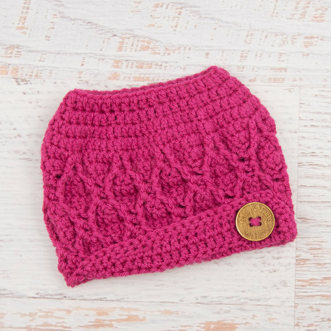 In-Stock 3-10 Year The 'Dressy' Messy Bun Hat in Raspberry