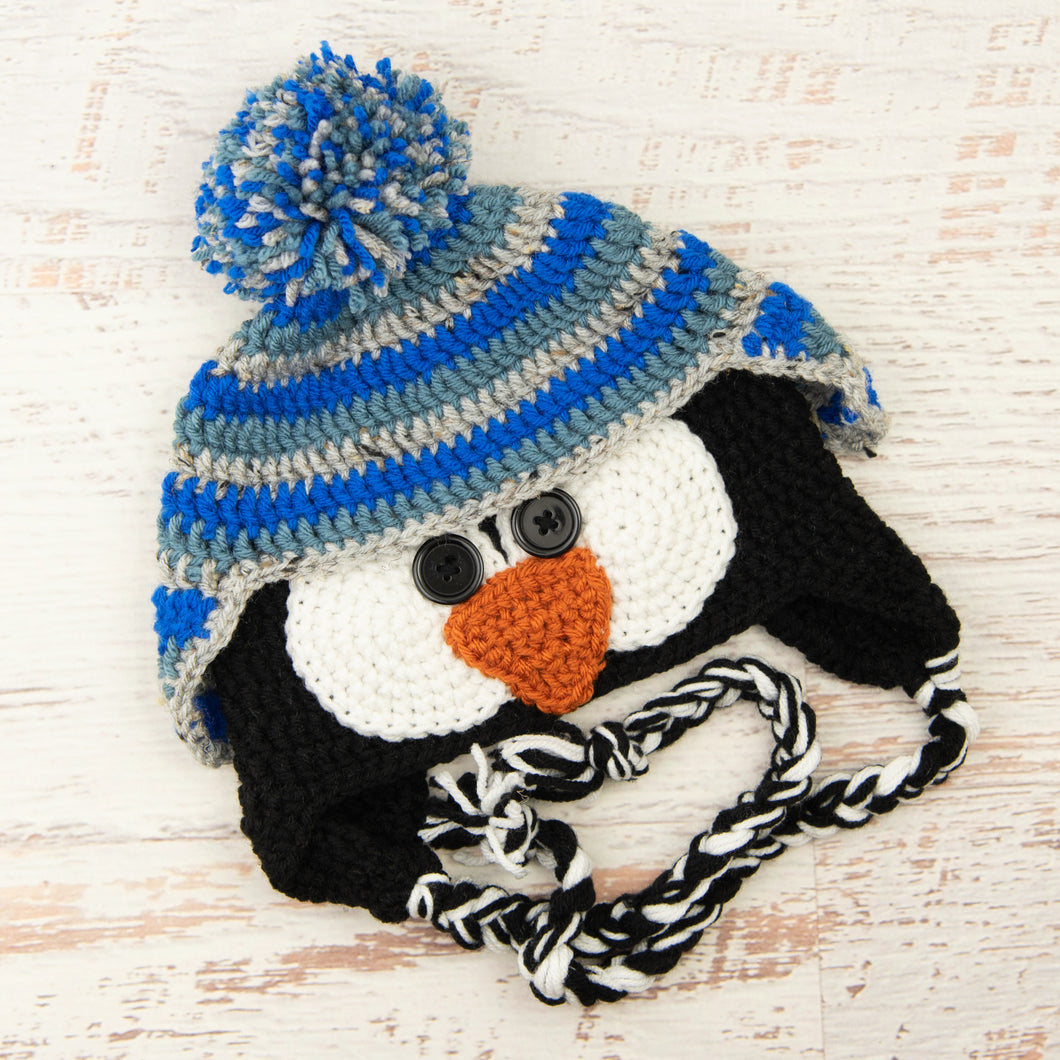 In-Stock 3-10 Year Penguin Hat in Electric Blue, Dusty Blue and Grey Marble