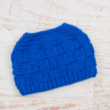 Load image into Gallery viewer, In-Stock The 'Everyday' Messy Bun Hat in Electric Blue