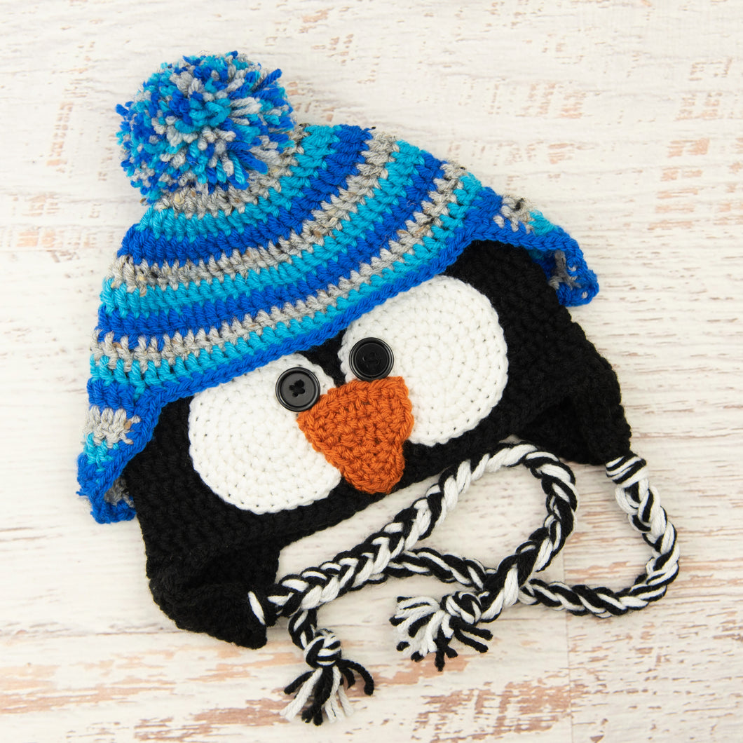 In-Stock 3-10 Year Penguin Hat in Grey Marble, Aqua and Electric Blue