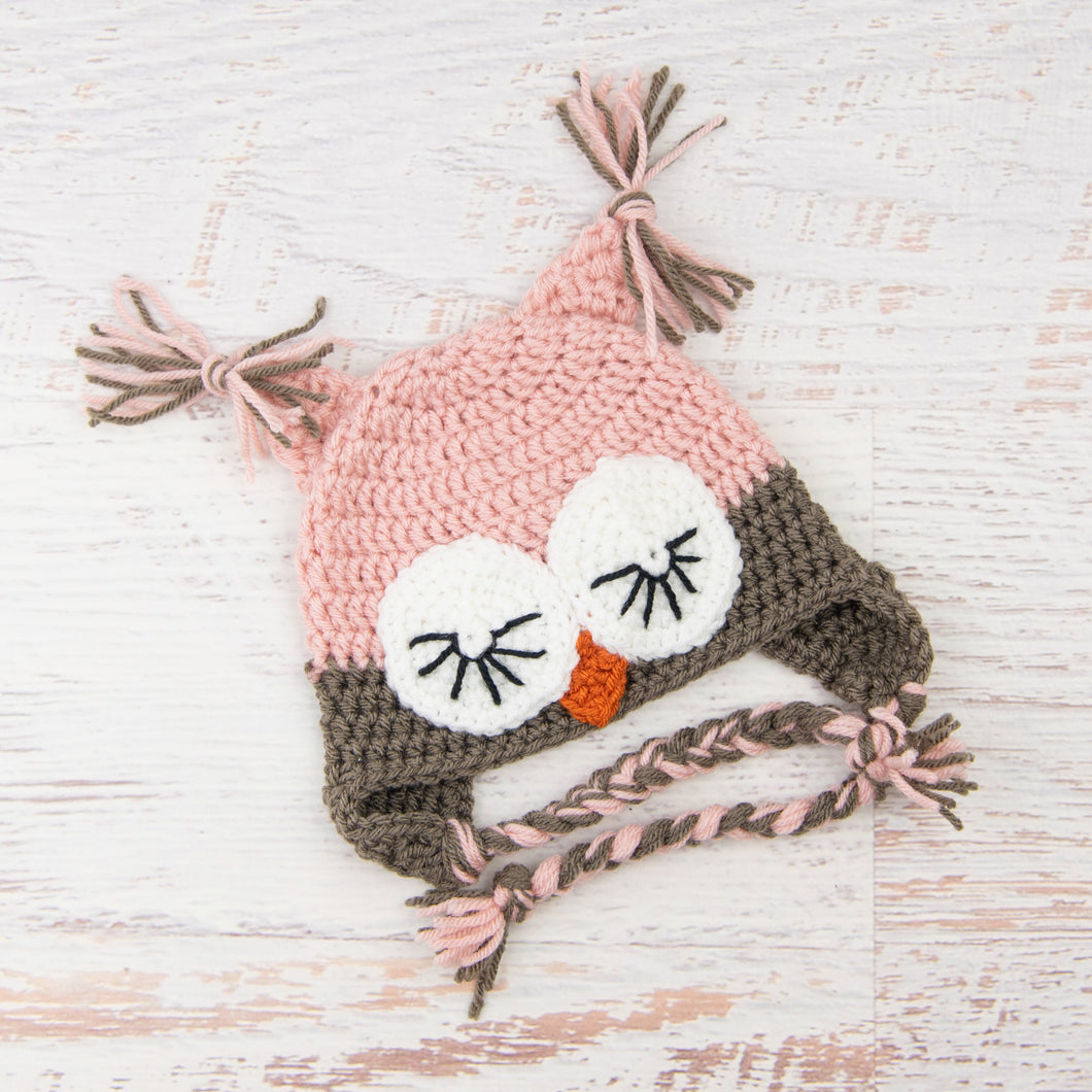In-Stock 6-12 Month Sleepy Owl in Pink and Taupe