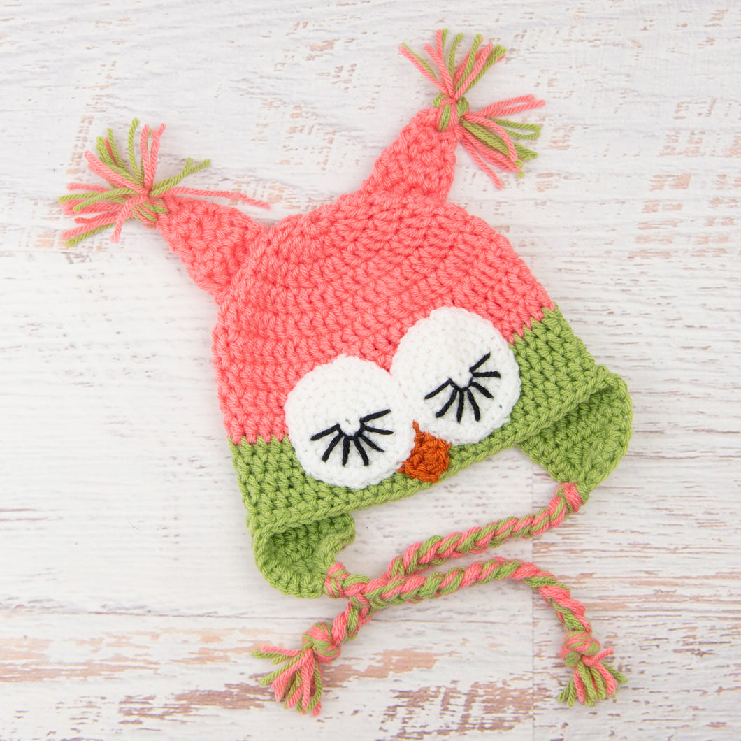 In-Stock 6-12 Month Sleepy Owl in Pink Grapefruit with Dusty Green