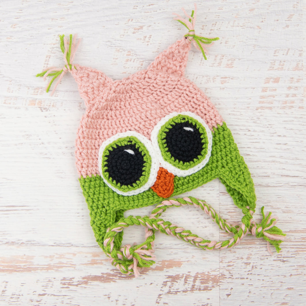 In-Stock 1-3 Year Owl in Pink and Fern with Fern Eyes