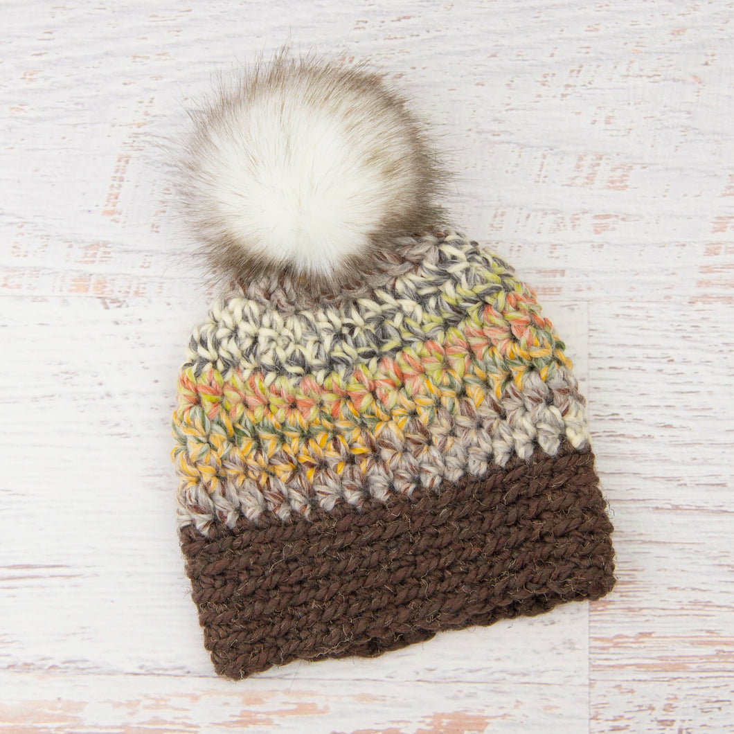 In-Stock Faux Fur Two Tone Toque in Harvest and Wood with Ivory Faux Fur Pom Pom