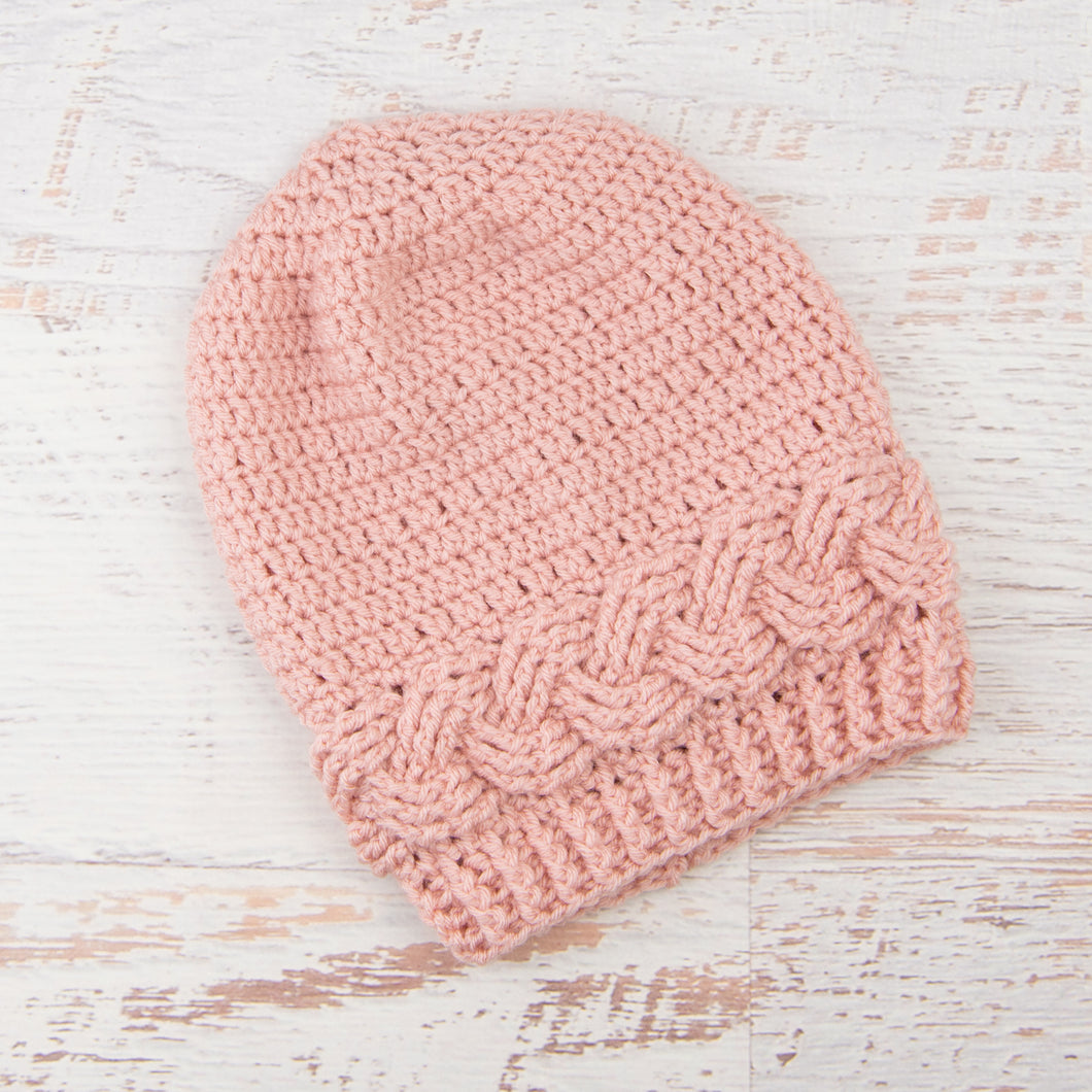 In-Stock Cabled Slouchy Toque in Pink