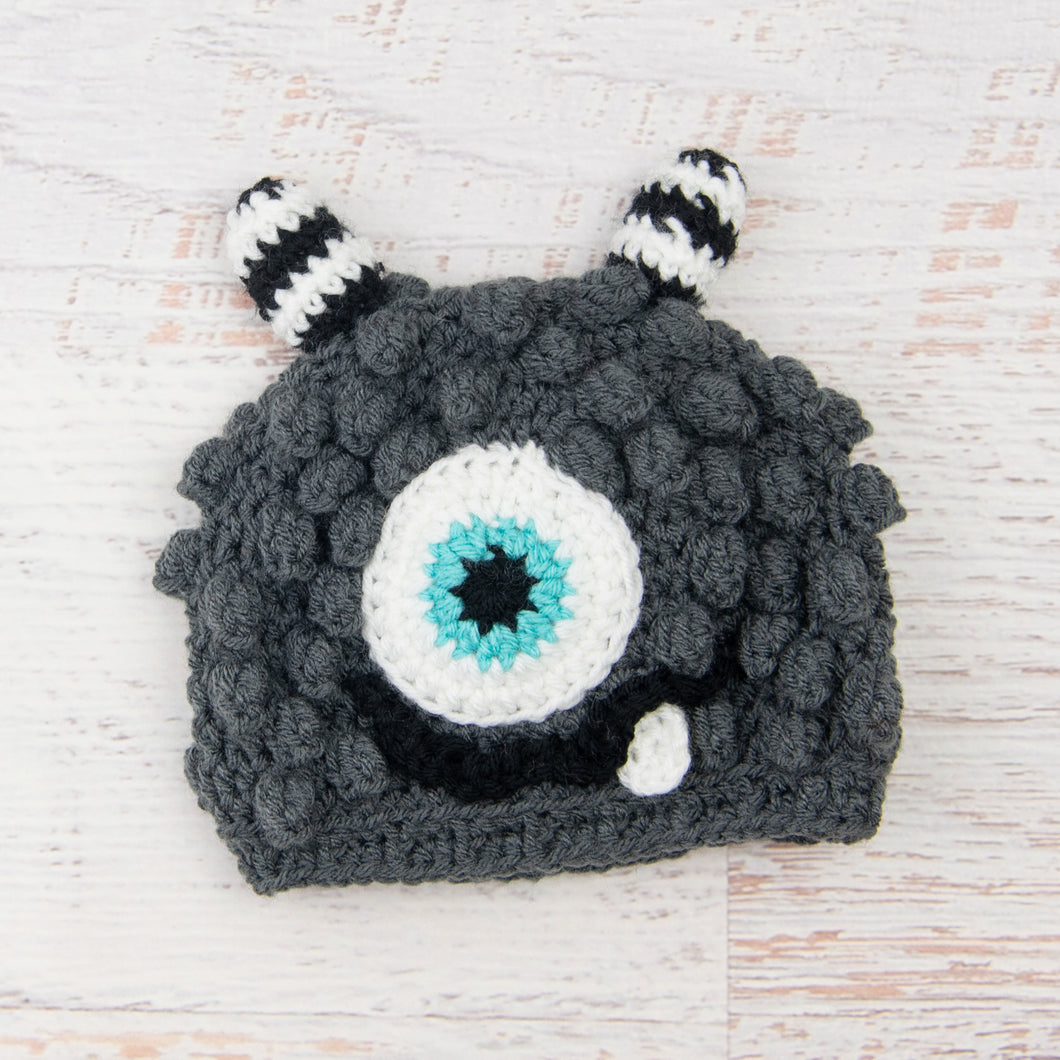 In-Stock 1-3 Year Little Monster in Charcoal with Aqua Marine Eye