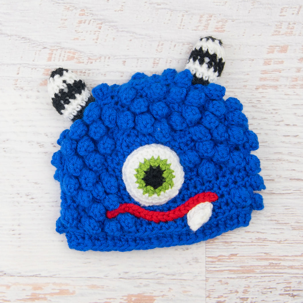 In-Stock 1-3 Year Little Monster in Electric Blue with Fern Eye and Red Lips