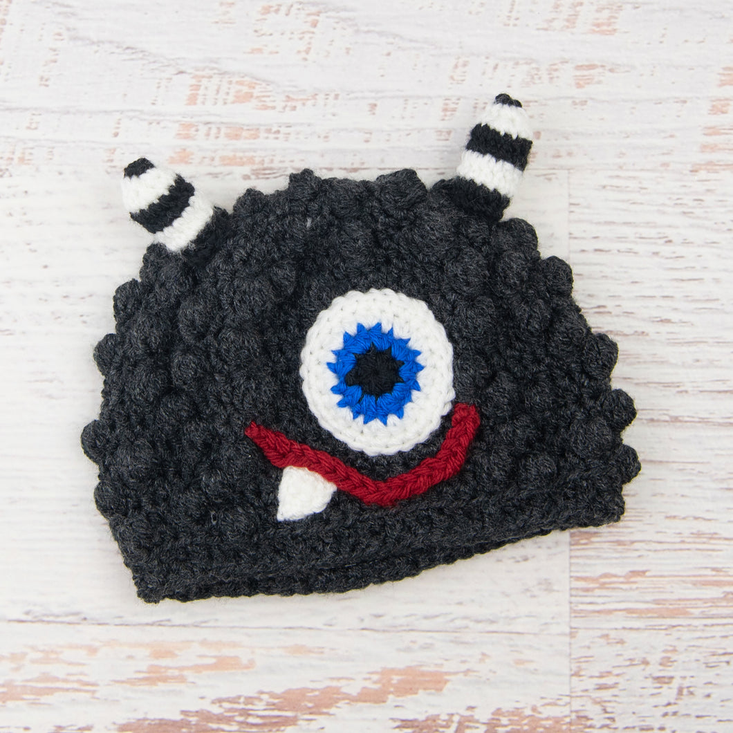In-Stock 1-3 Year Little Monster in Dark Grey Heather with Electric Blue Eye with Red Lips