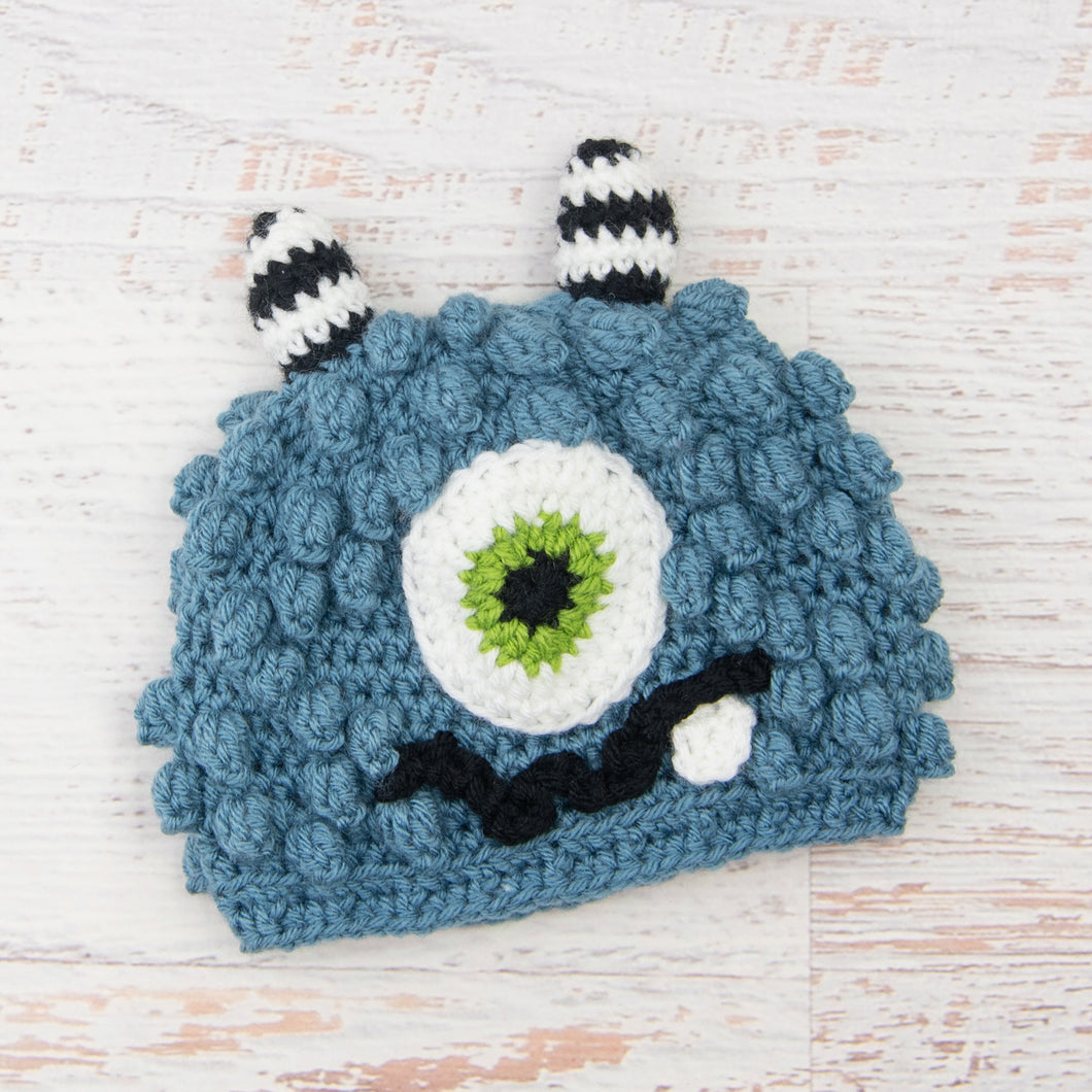 In-Stock 1-3 Year Little Monster in Dusty Blue with Fern Eye