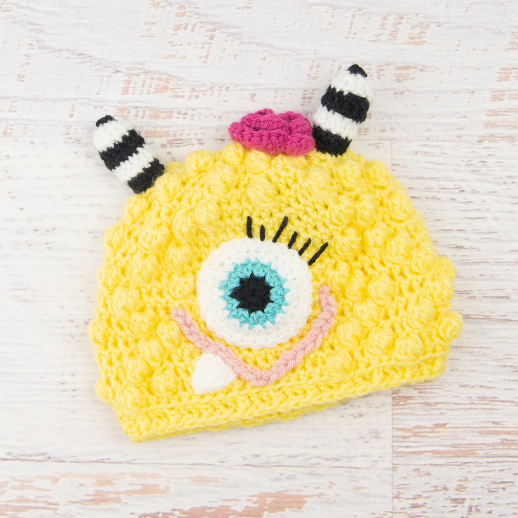 In-Stock 1-3 Year Little Monster in Lemon with Aqua Marine Eye and Raspberry Flower and Pink Lips