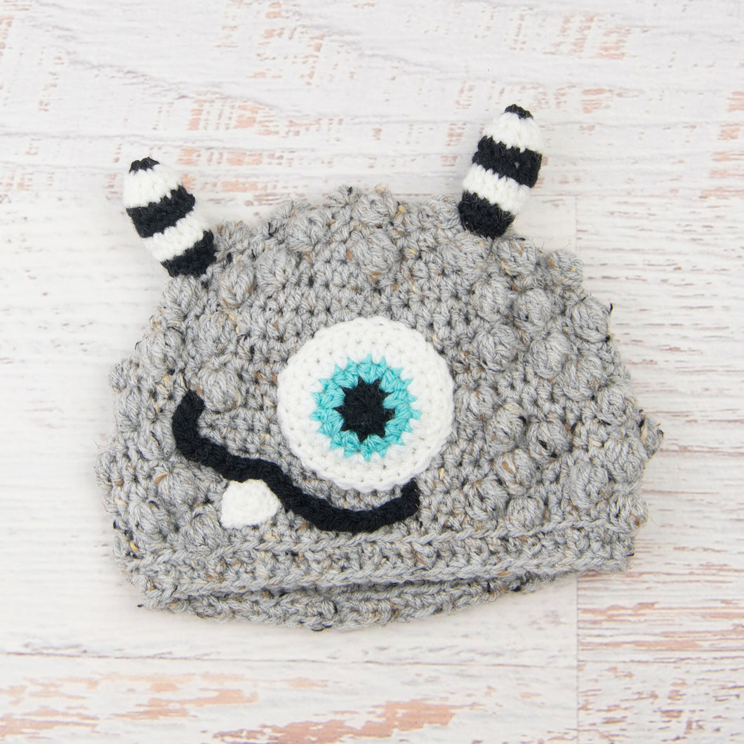 In-Stock 1-3 Year Little Monster in Grey Marble with Aqua Marine Eye