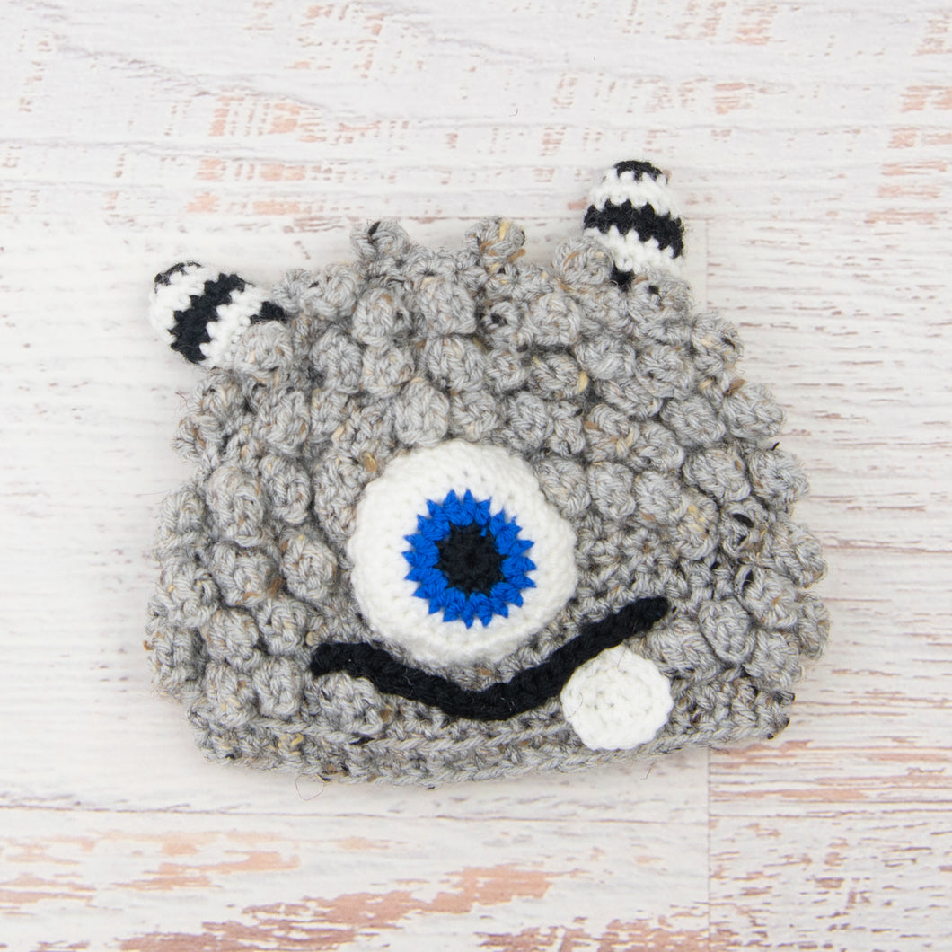In-Stock 1-3 Year Little Monster in Grey Marble with Electric Blue Eye