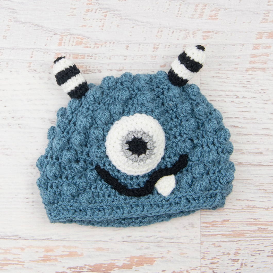 In-Stock 1-3 Year Little Monster in Dusty Blue with Grey Marble Eyes