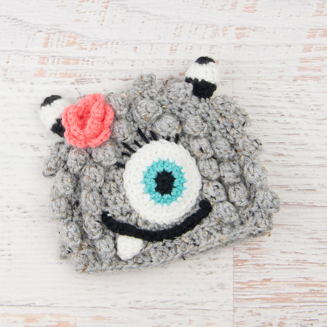 In-Stock 6-12 Month Little Monster in Grey Marble with Aqua Marine Eye and Pink Grapefruit Flower