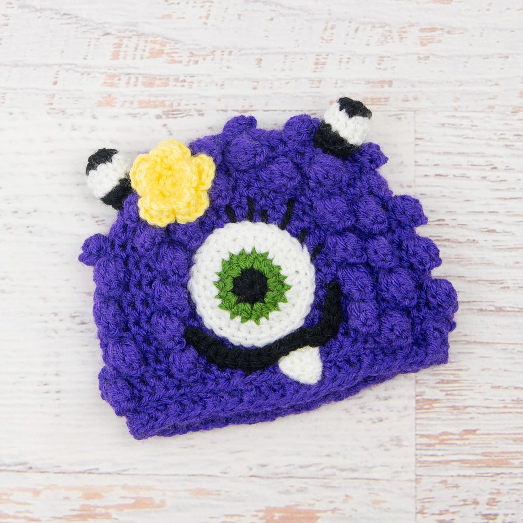 In-Stock 6-12 Month Little Monster in Electric Purple with Kelly Green Eye and Lemon Flower