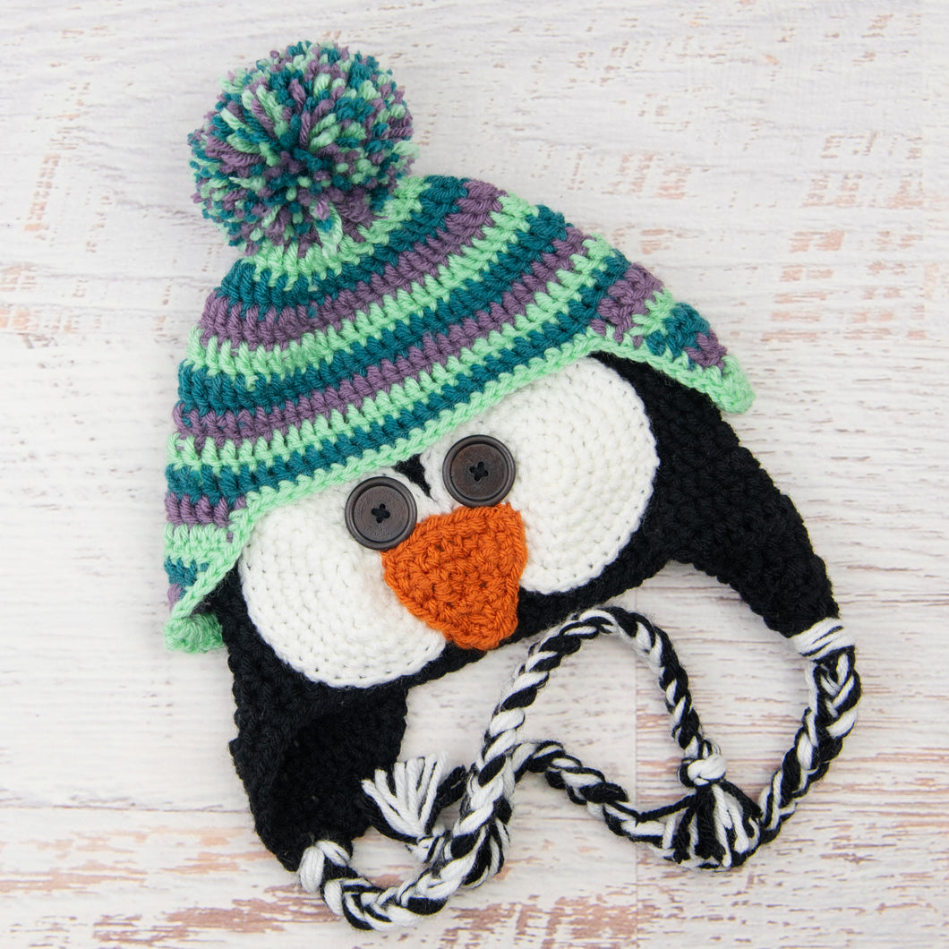 In-Stock 3-10 Year Penguin Hat in Dusty Purple, Peacock and Mint