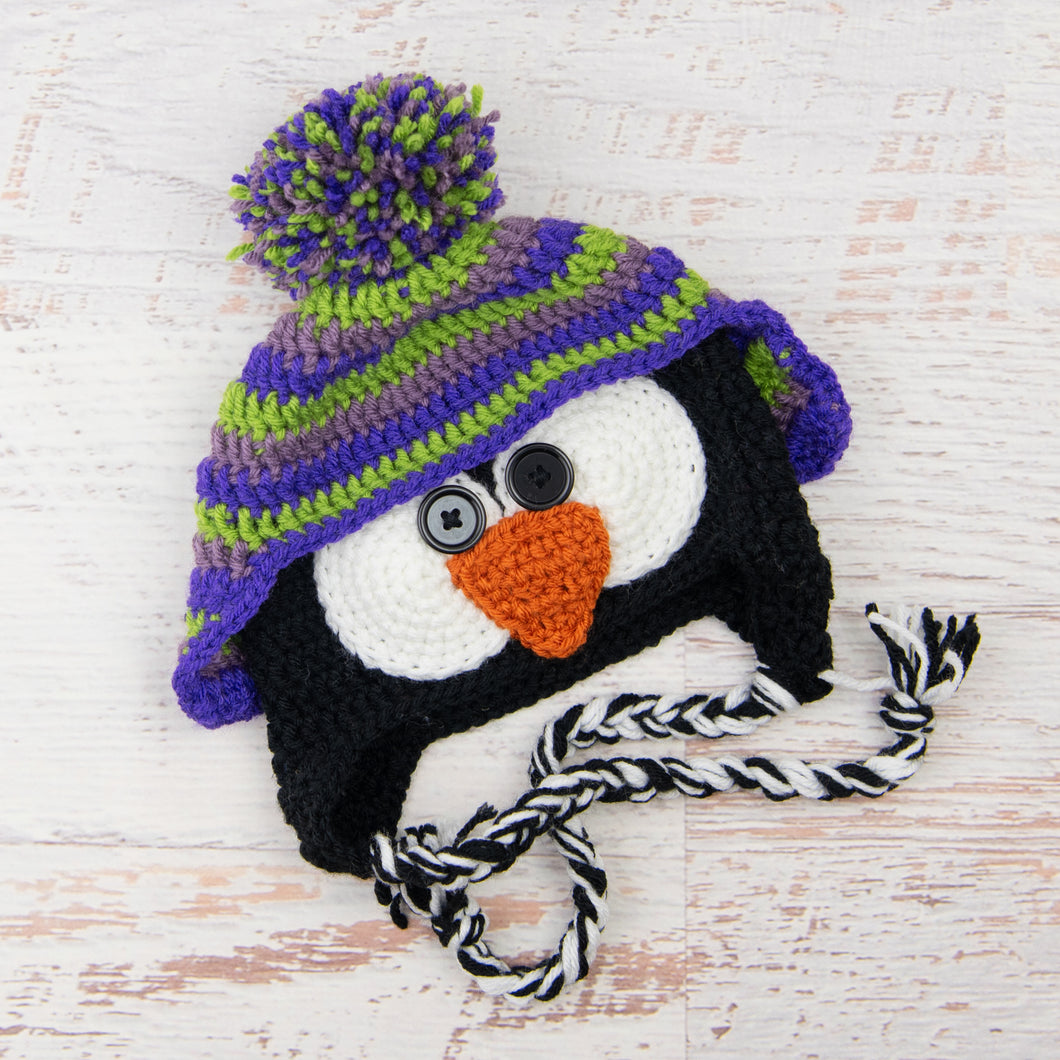 In-Stock 1-3 Year Penguin Hat in Dusty Purple, Fern and Electric Purple