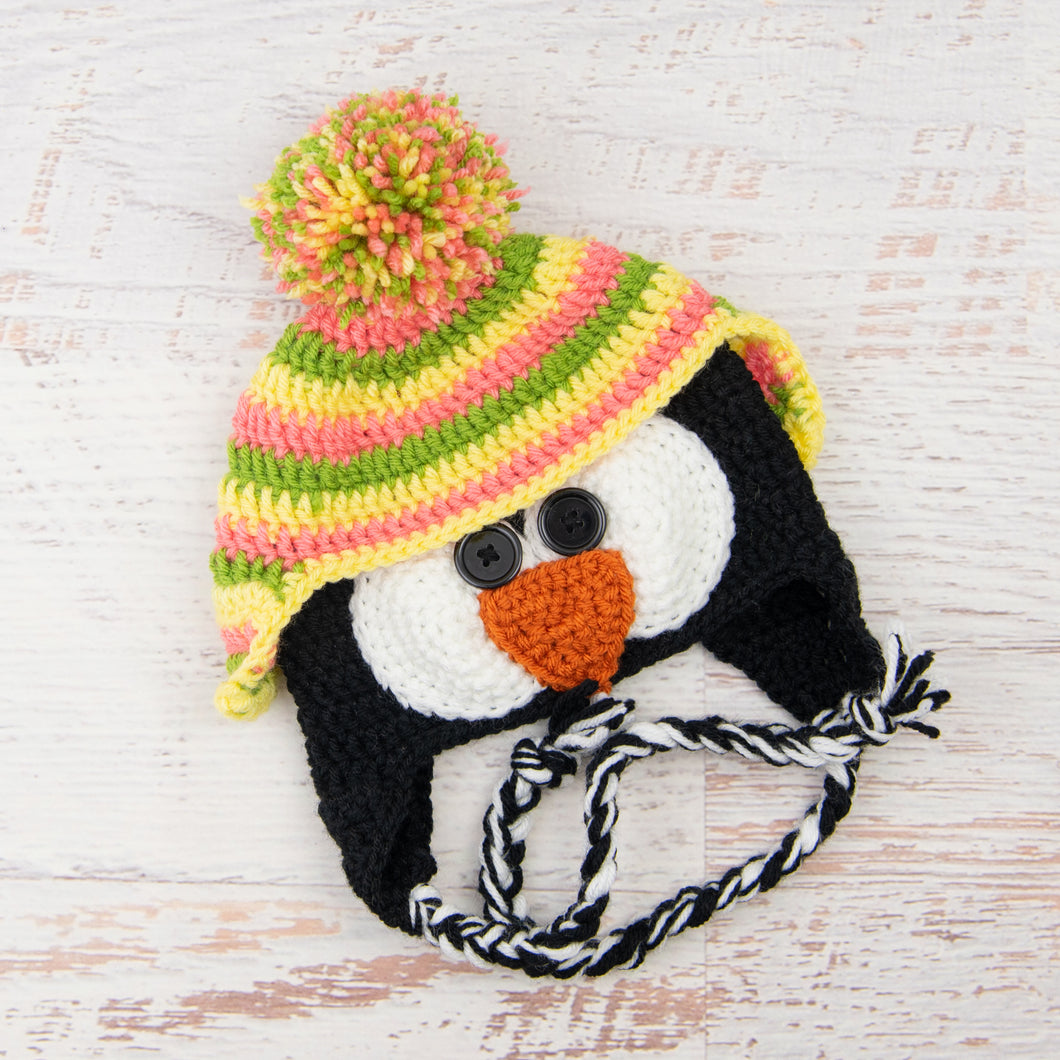 In-Stock 1-3 Year Penguin Hat in Fern, Pink Grapefruit & Lemon