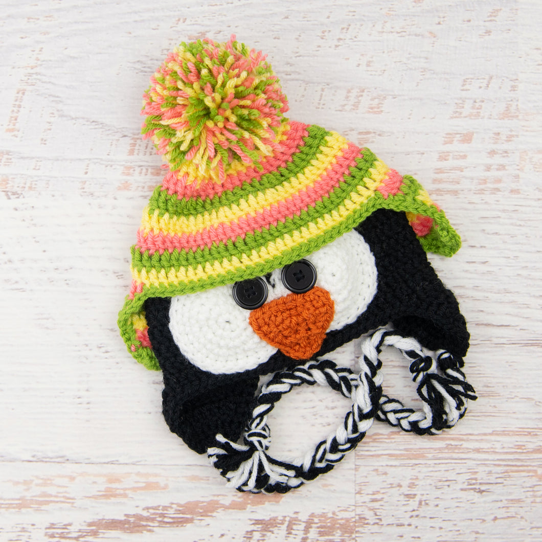 In-Stock 1-3 Year Penguin Hat in Pink Grapefruit, Lemon & Fern