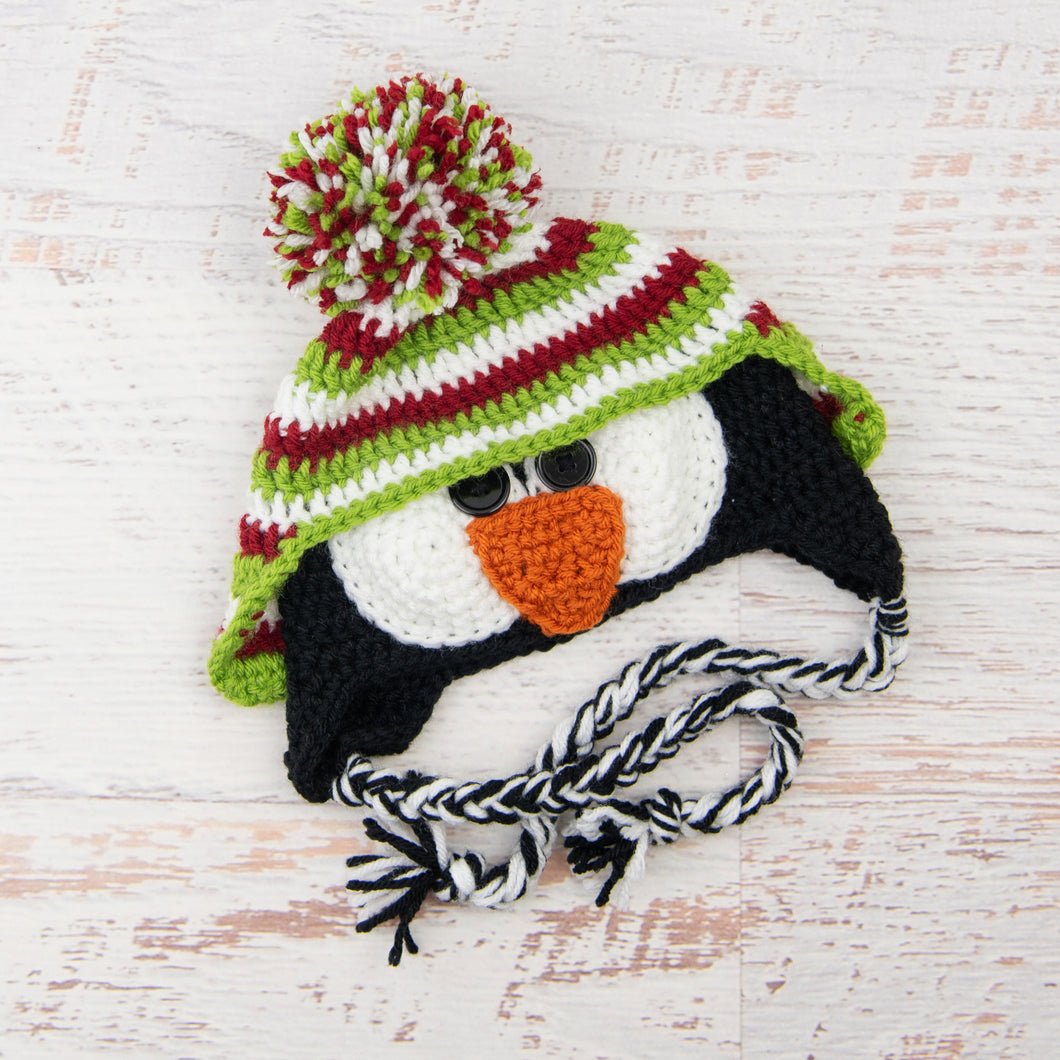 In-Stock 1-3 Year Penguin Hat in Cranberry, White & Fern