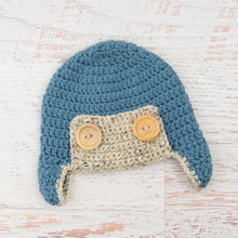 Load image into Gallery viewer, In-Stock 6-12 Month Aviator Hat in Dusty Blue with Oatmeal