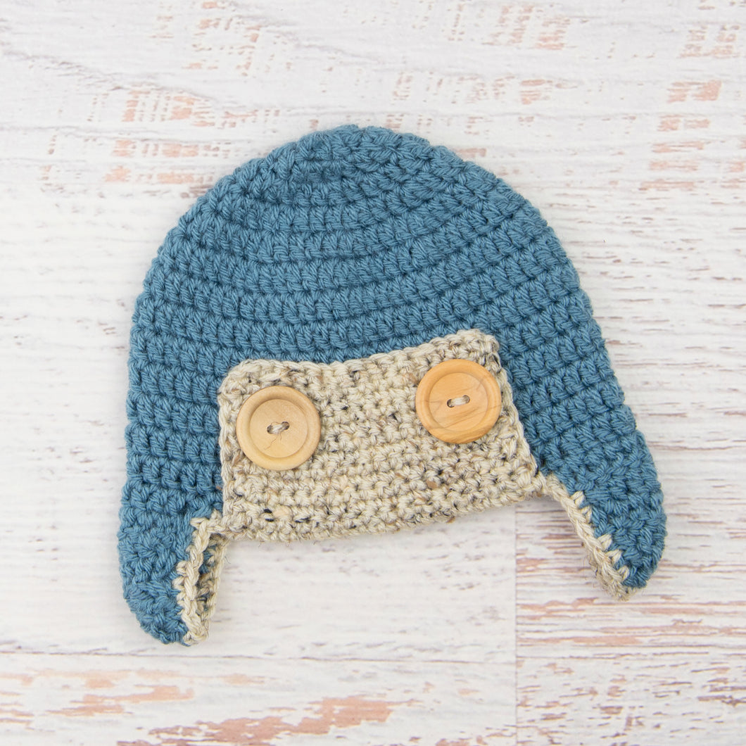 In-Stock 6-12 Month Aviator Hat in Dusty Blue with Oatmeal