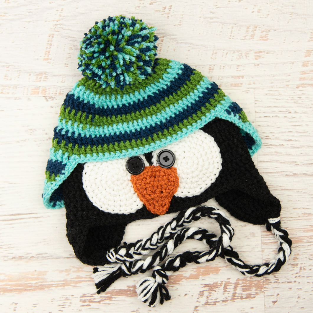 In-Stock 3-10 Year Penguin Hat in Midnight Blue, Fern and Aqua Marine