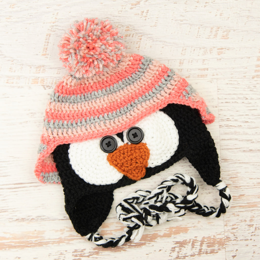 In-Stock 3-10 Year Penguin Hat in Silver Heather, Pink and Pink Grapefruit