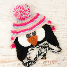 Load image into Gallery viewer, In-Stock 3-10 Year Penguin Hat in Rose Shocking, Pale Grey and Pink