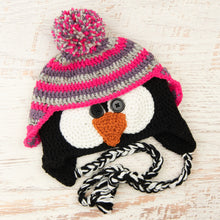 Load image into Gallery viewer, In-Stock 3-10 Year Penguin Hat in Dusty Purple, Grey Marble and Rose Shocking