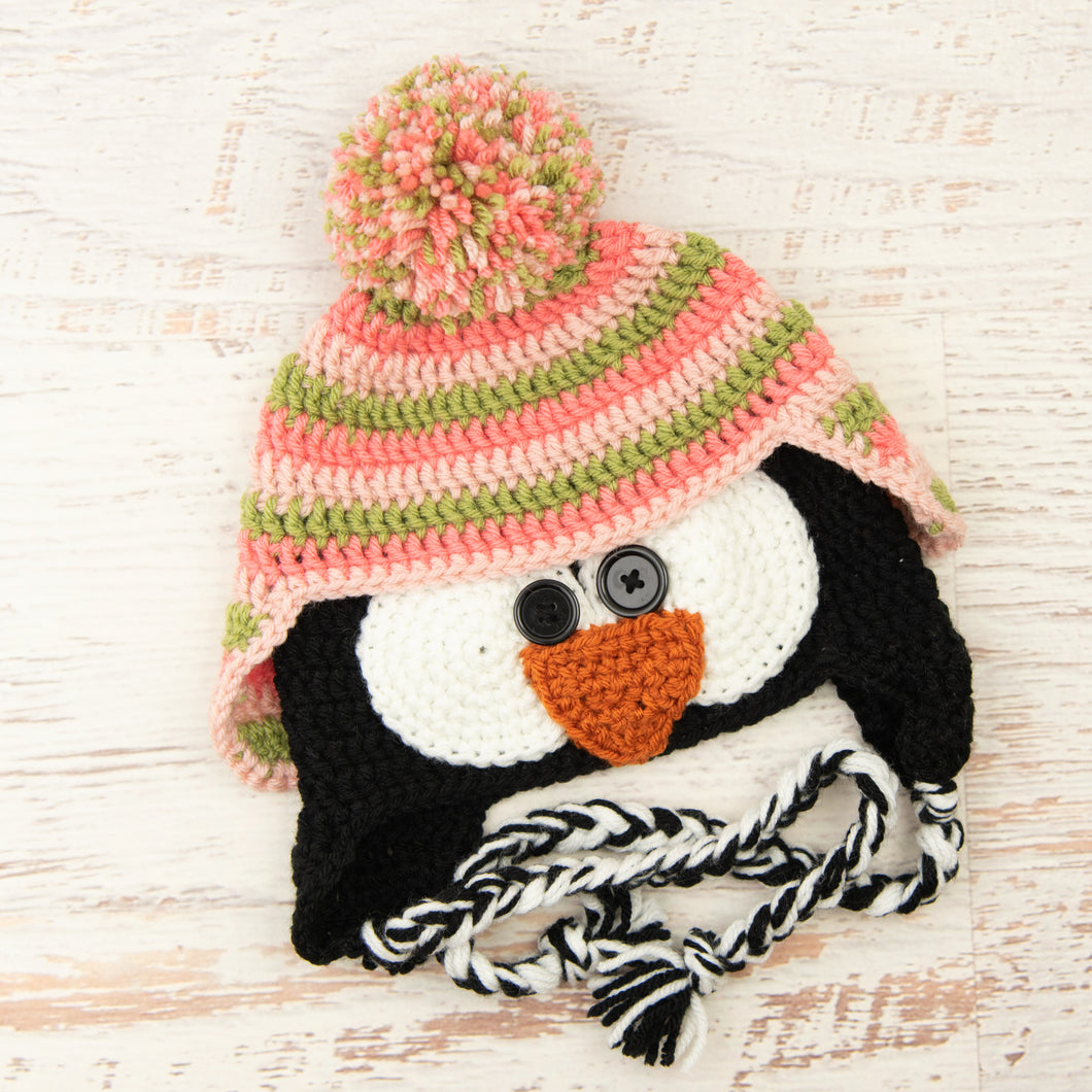In-Stock 1-3 Year Penguin Hat in Pink Grapefruit, Dusty Green and Pink
