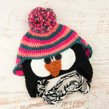 Load image into Gallery viewer, In-Stock 3-10 Year Penguin Hat in Rose Shocking, Pink Grapefruit and Peacock
