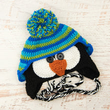 Load image into Gallery viewer, In-Stock 3-10 Year Penguin Hat in Aqua, Fern and Electric Blue