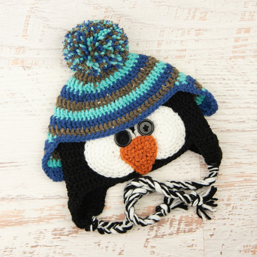 In-Stock 1-3 Year Penguin Hat in Aqua Marine, Barley and Colonial Blue