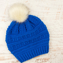 Load image into Gallery viewer, In-Stock Slouchy Puff Stitch Toque in Electric Blue with Cream Faux Fur Pom
