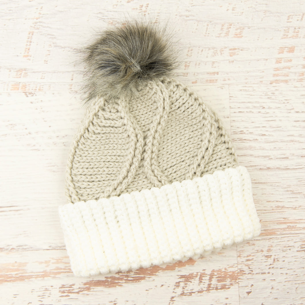 In-Stock Gabby Girl Toque in Linen with White Brim and Smoke Pom