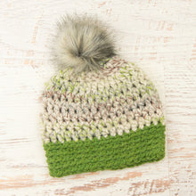 Load image into Gallery viewer, In-Stock Faux Fur Two Tone Toque in Fern with Grass and Smoke Pom