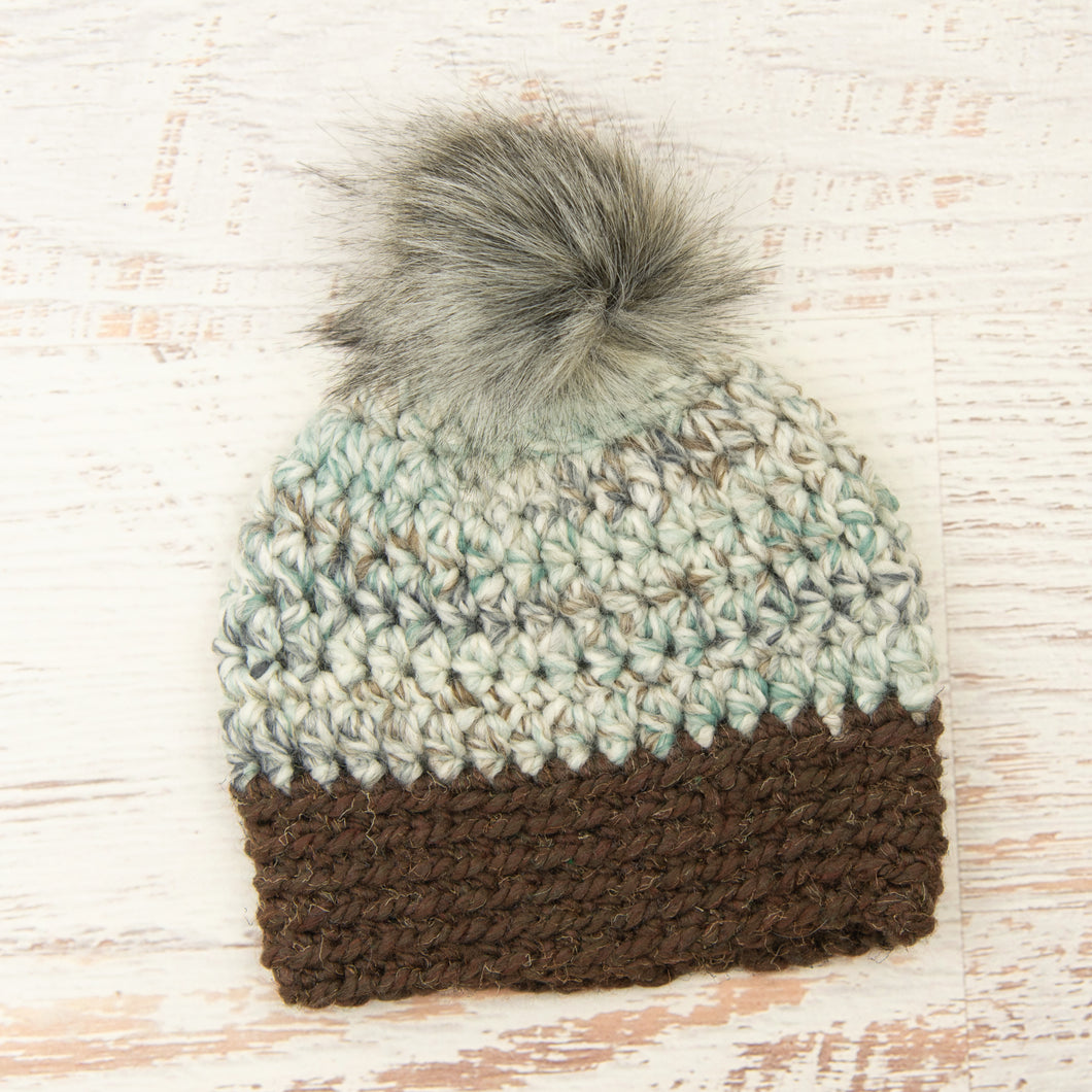 In-Stock Faux Fur Two Tone Toque in Sea Glass with Wood and Smoke Pom