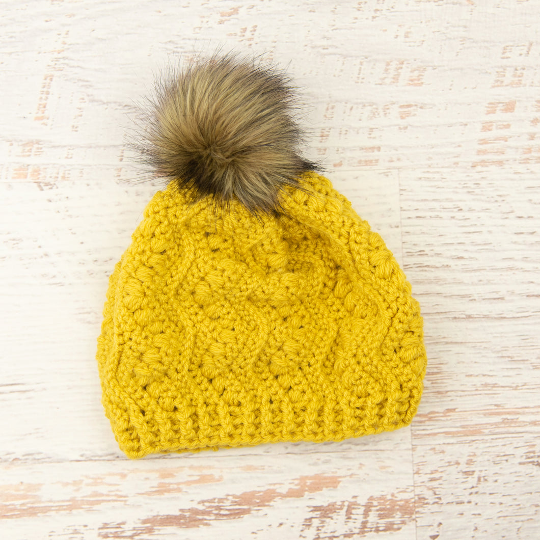 In-Stock Faux Fur Pom Pom Toque in Mustard with Brown Pom