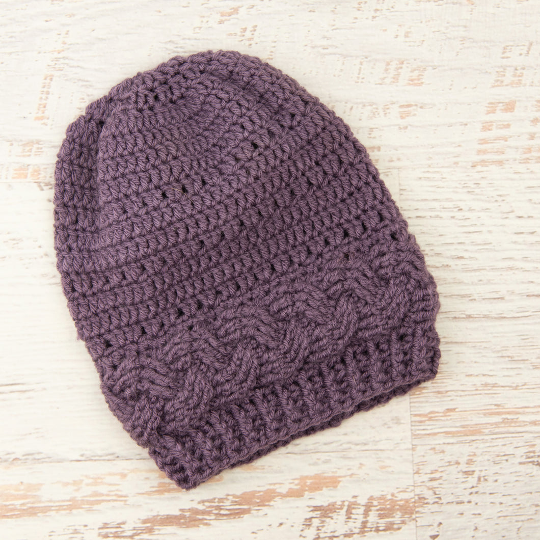 In-Stock Cabled Slouchy Toque in Dusty Purple