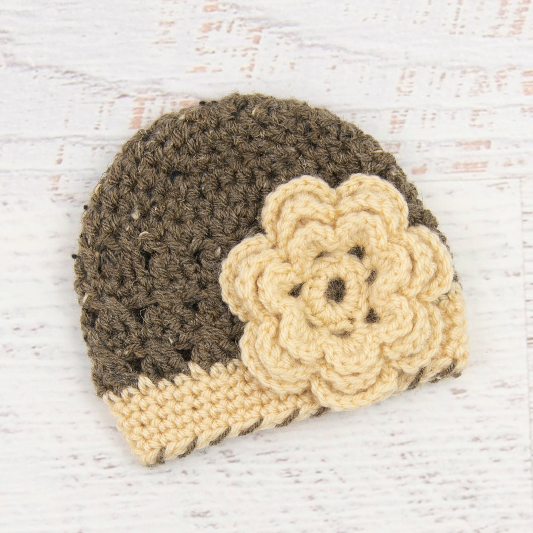 In-Stock Newborn Children's Flapper Hat (Barley with Beige)