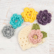 Load image into Gallery viewer, In-Stock Newborn Children's Scalloped Edge Beanie with 5 Flowers (Fisherman)