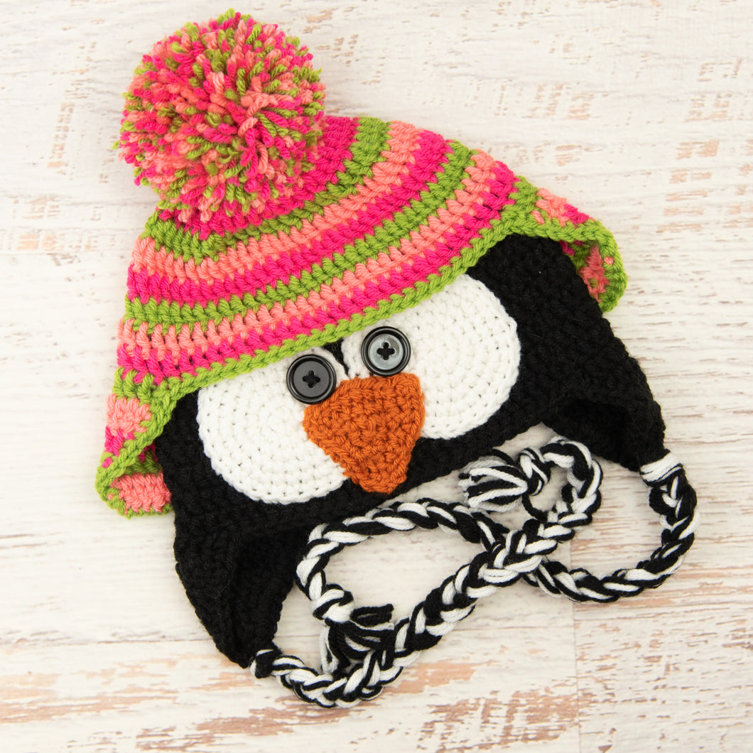 In-Stock 3-10 Year Penguin Hat in Pink Grapefruit, Rose Shocking and Fern