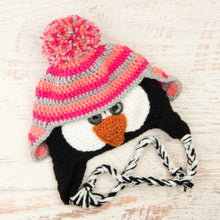 Load image into Gallery viewer, In-Stock 3-10 Year Penguin Hat in Pink Grapefruit, Rose Shocking and Silver Heather