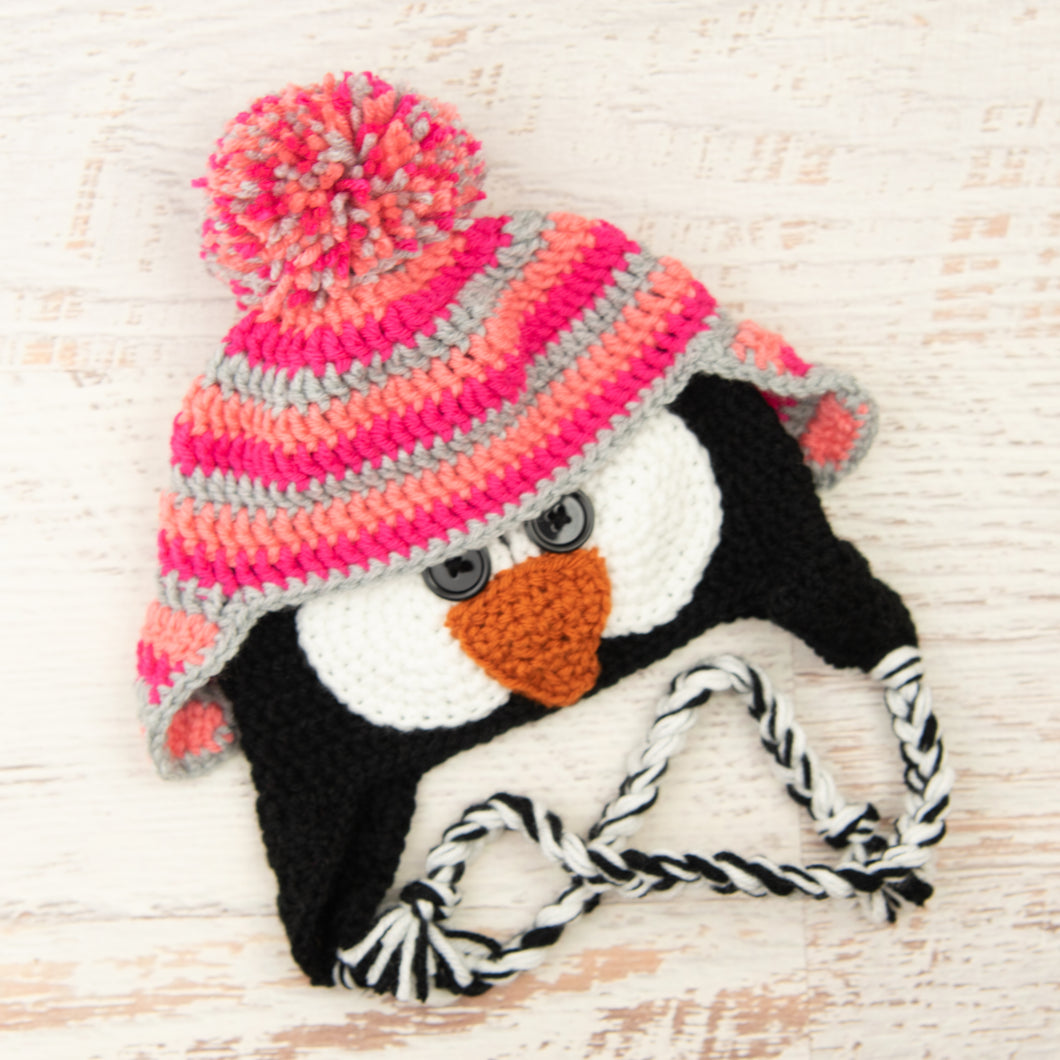 In-Stock 3-10 Year Penguin Hat in Pink Grapefruit, Rose Shocking and Silver Heather