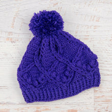 Load image into Gallery viewer, In-Stock Pretty Little Pom Pom Toque in Electric Purple
