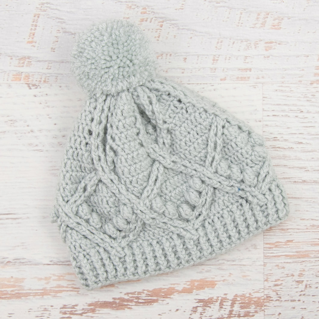 In-Stock Pretty Little Pom Pom Toque in Pale Grey