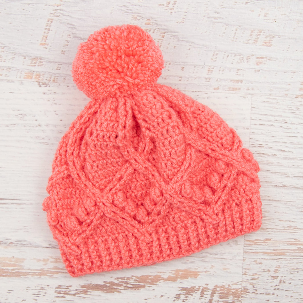 In-Stock Pretty Little Pom Pom Toque in Pink Grapefruit