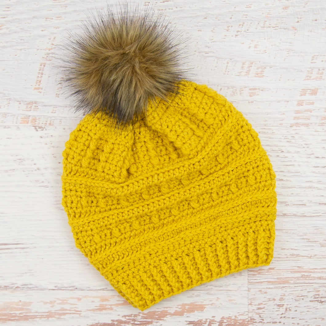 In-Stock Slouchy Puff Stitch Toque in Mustard with Brown Pom