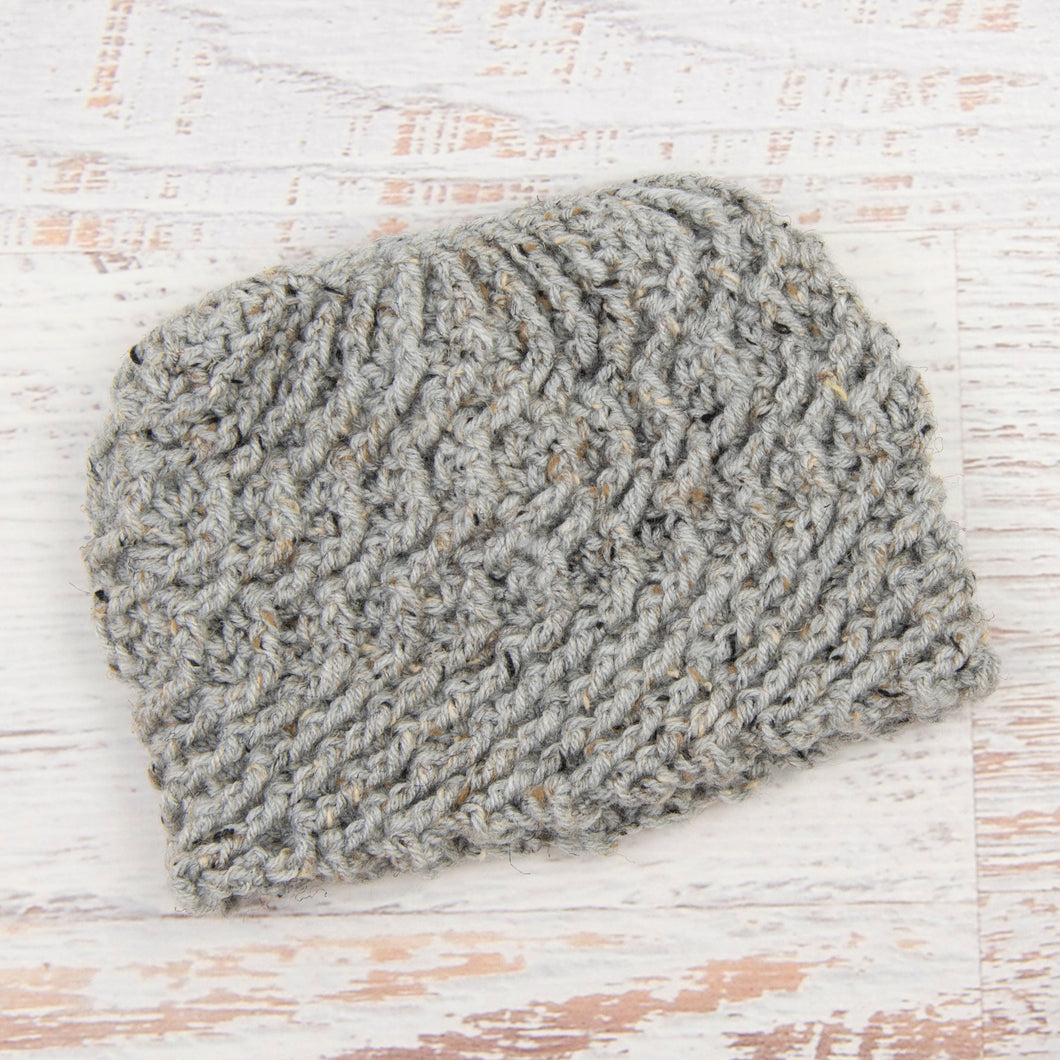 In-Stock Swirly Messy Bun Hat in Grey Marble